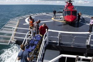 Heli transfer from the vessel